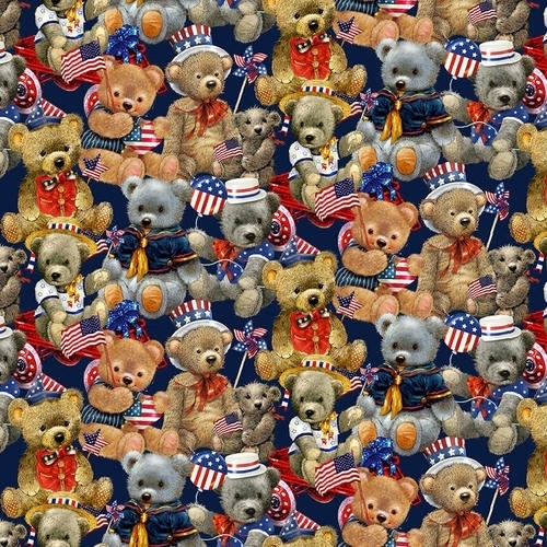 Teddy's America Packed Teddy Bears Patriotic Bear Cotton Fabric