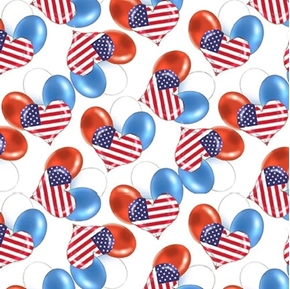 Teddy's America Heart Balloons Red White Blue Patriotic Cotton Fabric