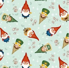 Gnome Sweet Gnome Garden Gnomes and Mushrooms Sea Green Cotton Fabric