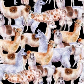 Llamas Different Breeds Llama Packed Black Cotton Fabric