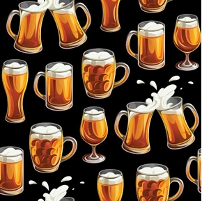 Cheers Mugs of Beer Ale Black Cotton Fabric