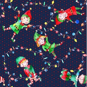 Elf Dance Holiday Elves and Christmas Lights on Blue Cotton Fabric