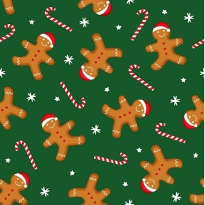 Gingerbread Dance Holiday Cookies and Candy Canes Green Cotton Fabric