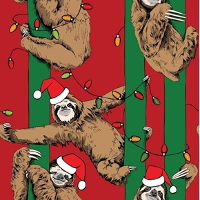 Christmas Sloth Holiday Lights Green and Red Striped Cotton Fabric