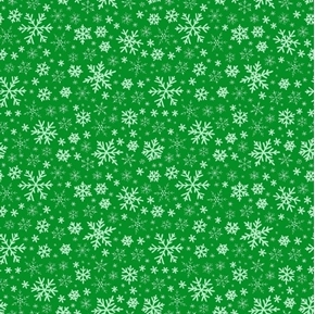 Snowflakes Holiday Snow Packed Green Cotton Fabric