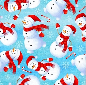 Holly Jolly Snowmen Winter Holiday Candy Cane Snow Blue Cotton Fabric