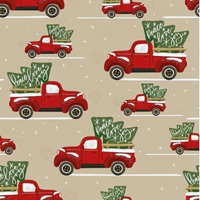 Peace Love and Joy Vintage Red Truck Christmas Holiday Cotton Fabric