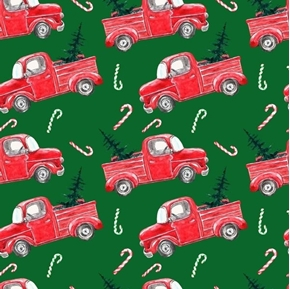 Christmas Haul Vintage Red Trucks Candy Canes Green Cotton Fabric