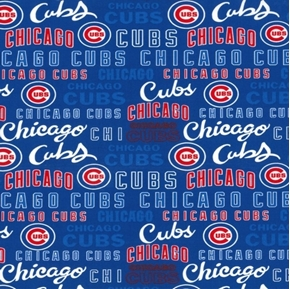 MLB Baseball Chicago Cubs 2020 Words Logos Blue Cotton Fabric