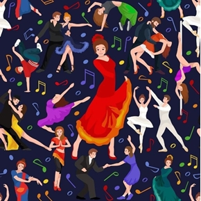 Dancing Ballroom Ballet Tango Salsa Pole Dancer Black Cotton Fabric