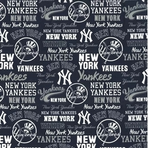 MLB Baseball New York Yankees 2020 Words Logos Navy Blue Cotton Fabric