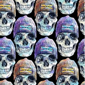 Now or Never Skulls with Beanies Halloween Black Cotton Fabric