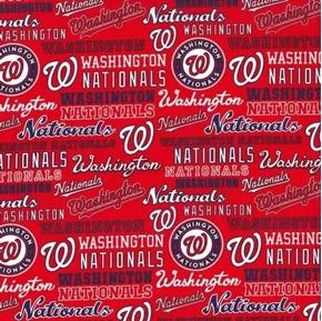 MLB Baseball Washington Nationals 2020 Words Logos Red Cotton Fabric