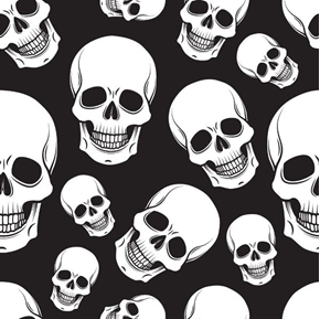 Skull Smile Smiling Skulls Creepy Halloween Black Cotton Fabric