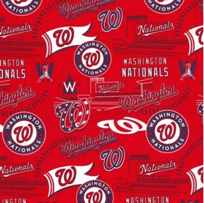 MLB Baseball Washington Nationals Stadium 2019 Red Cotton Fabric