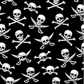 Skulls Pirate Swords and Skull Jolly Roger Black Cotton Fabric