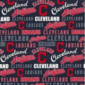 MLB Baseball Cleveland Indians 2020 Words Logos Blue Cotton Fabric