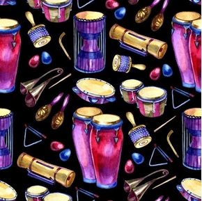 Bongos Percussion Instruments Maracas Drums Music Cotton Fabric