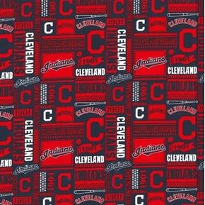 MLB Baseball Cleveland Indians Block Pattern 2020 Cotton Fabric
