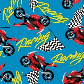 Racing Motorcycles Speed Bikes Checkered Flags Blue Cotton Fabric