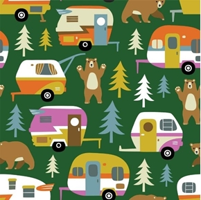 Camping Campers and Trailers Bears and Trees Green Cotton Fabric