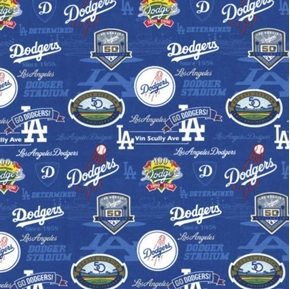 MLB Baseball Los Angeles Dodgers Stadium History 2019 Cotton Fabric