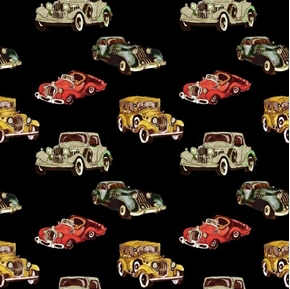 Automotives Small Vintage Cars Jalopies Model T Cotton Fabric