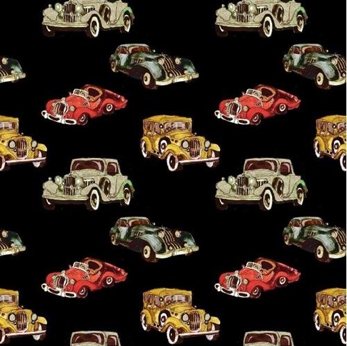 Automotives Small Vintage Cars Jalopies Model T Cotton Fabric