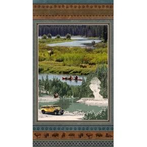 Yellowstone National Park Scenic Buffalo and Geyser 24x44 Fabric Panel