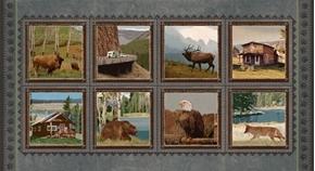 Yellowstone National Park Bear Buffalo Elk Blocks 24x44 Fabric Panel