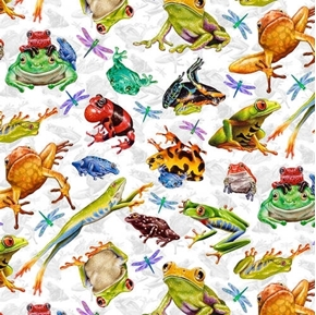 Jewels of the Jungle Frog and Dragonfly Allover White Cotton Fabric