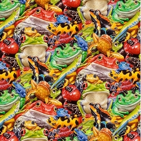 Jewels of the Jungle Piled Up Frog Collage of Frogs Cotton Fabric