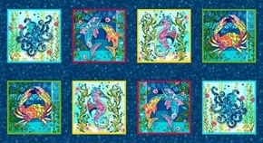Blooming Ocean Crab Seahorse Octopus Dolphin Block 24x44 Fabric Panel