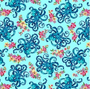 Blooming Ocean Octopus Aquatic Animal Blue Cotton Fabric