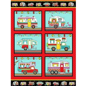 Roamin' Holiday Camper Decorated Campers Trailers Cotton Fabric Panel