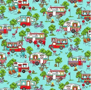 Roamin' Holiday Campers Camping Campground Teal Cotton Fabric