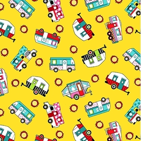 Roamin' Holiday Tossed Campers Sunshine Yellow Cotton Fabric