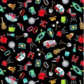 Roamin' Holiday Tossed Camper Icons Grill Knife Kayak Cotton Fabric