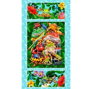 Jewels of the Jungle Frogs Stacked 24x44 Cotton Fabric Panel