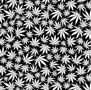 Cannabis Leaves Glow in the Dark White on Black Hemp Cotton Fabric