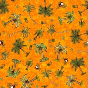Postcards From Paradise Palm Trees Pineapples Orange Cotton Fabric