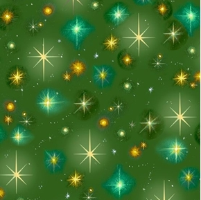 Christ is Born Stars Christmas Nativity Star Green Cotton Fabric
