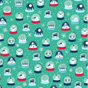 Twinkle Twinkle Snow Globes Christmas Holiday Green Cotton Fabric