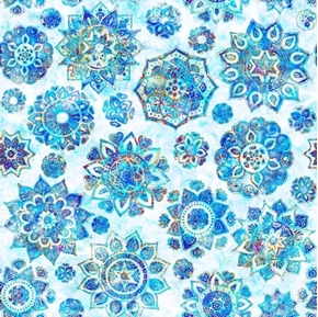 Kashmir Mandalas Blue Mandala on White Cotton Fabric