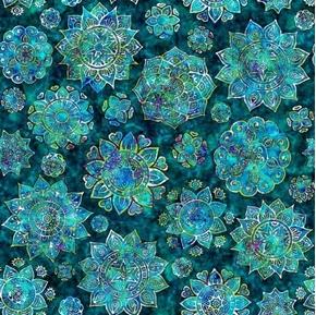 Kashmir Mandalas Blue Green Lagoon Mandala Cotton Fabric