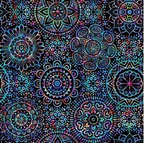 Zanzibar Mandalas Colorful Black Mandala Blender Cotton Fabric