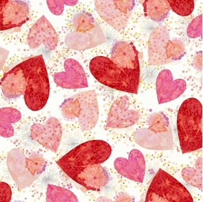 All My Love Hearts and Confetti Valentine Heart White Cotton Fabric