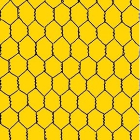 Count Your Chickens Chicken Wire Farm Yellow Cotton Fabric