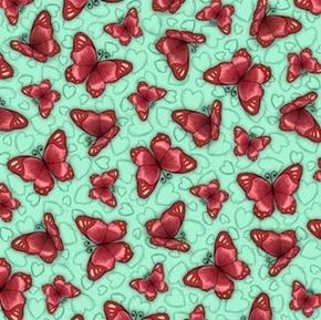 Truly Gorjuss Butterflies Santoro Butterfly Green Cotton Fabric