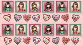 Truly Gorjuss Framed Girls and Hearts Santoro 24x44 Cotton Fabric Panel